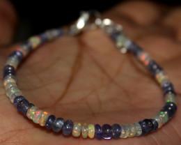 Natural Ethiopian Welo Fire Opal & Tanzanite Beads Bracelet 9