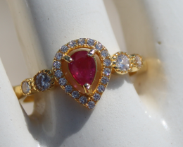 Tajik Ruby .57ct,Yellow Gold Plated,Solid Sterling Silver Ring,Resizable,Na