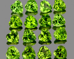 4.00 mm Heart 16pcs Green Peridot [VVS]