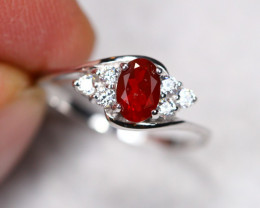 1.36g Natural Red Mexican Fire Opal 925 Sterling Silver Ring BS1836