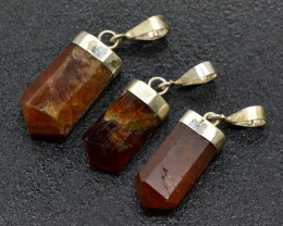 57 Cts Orange Garnet Pendants With  Sterling silver 925-3 Pieces