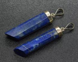 100 Carats Lapis Lazuli Pendants -2 Pieces