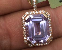 (B7) $1600 Gorgeous Nat 4.45 cts Amethyst & Sapphire Pendant 10K RG 3.8