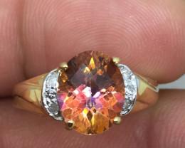 (B9) Cert.  $985 Nat 3.17cts. Genuine Azotic Topaz & Diamond Ring 10K Y