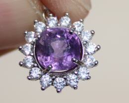 Amethyst 1.97ct,White Gold Plated,Solid Sterling Silver Pendant