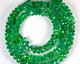3.67 Cts Natural Green Emerald Bracelet - 15 cm - 2.0 mm