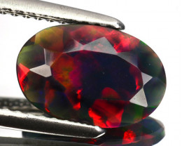 1.05 Cts Multi-Color Play Smoked Ethiopian Black Opal Oval Cut