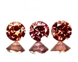 ~SET~ 0.16 Cts Natural Purplish Pink Diamond 3 Pcs Round Africa