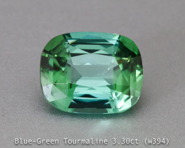 Flashing fine Blue Green Tourmaline - Cushion 3.30ct - Eye Clean Gem - Afri