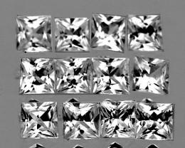 2.20 mm Square 12pcs 1.05ct White Sapphire [VVS]