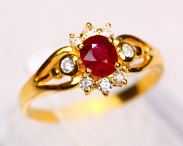 UNHEATED Red Ruby 18K Solid Yellow Gold F/G VS Diamond Ring GJ07