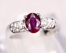UNHEATED Red Ruby 18K Solid White Gold F/G VS Diamond Ring GJ08