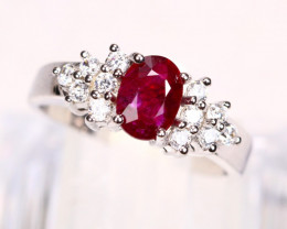 Mozambique Red Ruby 18K Solid White Gold F/G VS Diamond Ring GJ09