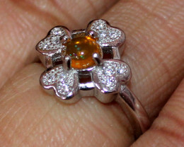 Natural Ethiopian Welo Fire Opal 925 Silver Ring Size (4.5 US ) 202