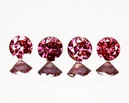 0.18 Cts Natural Purplish Pink Diamond 4 Pcs Round Africa