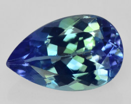 0.98 CTS FANCY VIOLET BLUE COLOR NATURAL TANZANITE (ZOISITE) LOOSE GEMSTONE