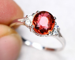 1.97g Natural Peach Pink Color Tourmaline 925 Sterling Silver Ring A1501