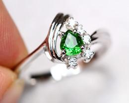 2.90g Natural Vivid Green Tsavorite 925 Sterling Silver Ring A1502