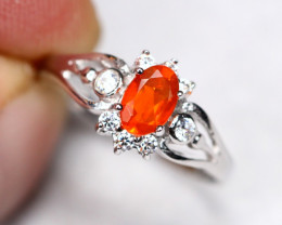 1.57g Natural Orange Mexican Fire Opal 925 Sterling Silver Ring A1504