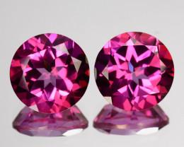~PAIR~ 4.98 Cts Beautiful Pink Topaz 8 mm Round Cut 2 Pcs Brazil