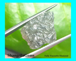 8.19ct 16.6mm 12mm Grey rough diamond  16.6 by 14.3 by 5.45 Conflict free