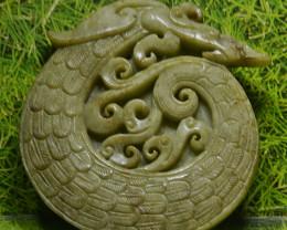 389.95 CT UNTREATED Jade Dragon Carving