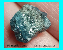 6.7ct 14.2mm Blue Green grey rough diamond cluster slice 14.2 by 12.9 by 5.