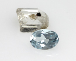2.10cts Before and After Sample Set of Topaz Crystal and Cut Oval