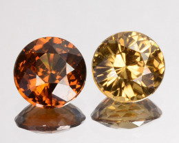 2.21 Cts Natural Zircon Imperial Brown 2 Pcs Round Cut Tanzania