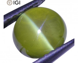 2.29 ct Cabochon Oval Chrysoberyl Cat's Eye IGI Certified