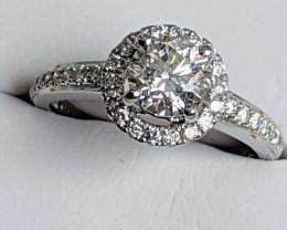 1.40 tcw - EGL 18kt White Gold Diamond Ring with Halo