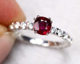 UNHEATED 2.00g Mozambique Red Ruby 925 Sterling Silver Ring AS1802