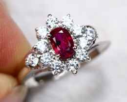 UNHEATED 3.28g Mozambique Red Ruby 925 Sterling Silver Ring AS1804