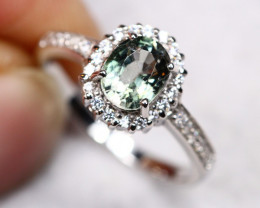 2.97g Natural Green Olive Tourmaline 925 Sterling Silver Ring AS1805