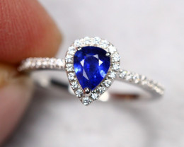 1.84g Natural Pastel Blue Sapphire 925 Sterling Silver Ring AS1808