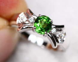 1.97g Natural Neon Green Tsavorite 925 Sterling Silver Ring AS1815
