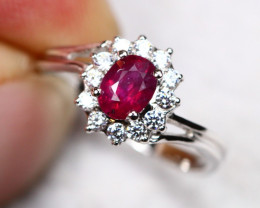UNHEATED 1.40g Mozambique Red Ruby 925 Sterling Silver Ring AS1816