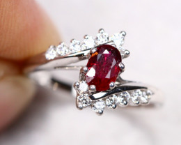2.26g Natural Heated Only Mozambique Ruby 925 Sterling Silver Ring AS1819