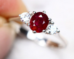 1.85g Natural Heated Only Mozambique Ruby 925 Sterling Silver Ring AS1823