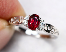 UNHEATED 1.76g Mozambique Red Ruby 925 Sterling Silver Ring AS1826