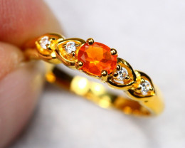 2.01g Natural Orange Mexican Fire Opal 925 Sterling Silver Ring AS1827