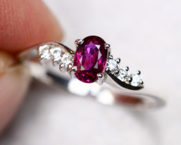 UNHEATED 1.73g Mozambique Red Ruby 925 Sterling Silver Ring AS1828