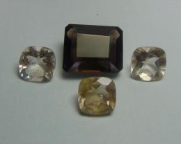 46.80Ct Rutilated quartz&  Smoky Quartz mix cut stones