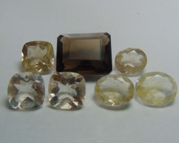 61.70Ct Rutilated quartz&  Smoky Quartz mix cut stones
