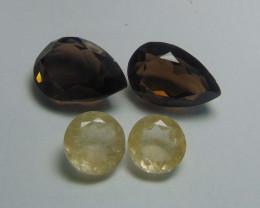 54.90Ct Rutilated quartz&  Smoky Quartz mix cut stones