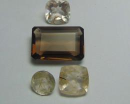 41.75Ct Rutilated quartz&  Smoky Quartz mix cut stones
