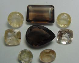 79.00Ct Rutilated quartz&  Smoky Quartz mix cut stones