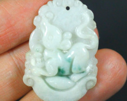 31.0Ct Natural Grade A Mouse Carving Jadeite Jade Pendant