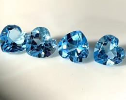 ⭐4PC PARCEL DYNAMIC SWISS BLUE  TOPAZ  GEMS 5.7MM EACH