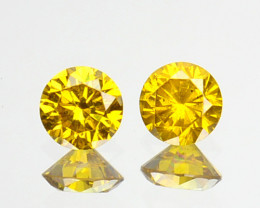 ~PAIR~ 0.20 Cts Natural Sparking Yellow Diamond Round Africa